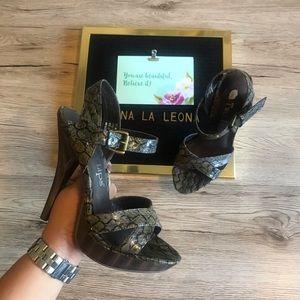 NEW Two Lips Tango Snake-Print High Heel Sandals